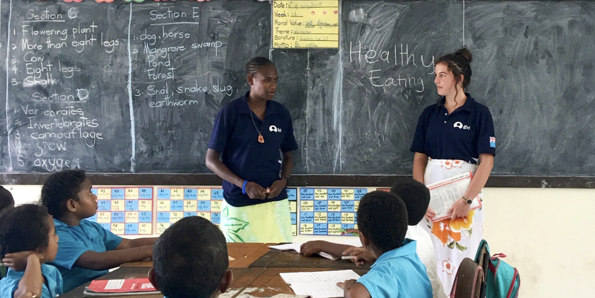 GVI participants working with children practice their TEFL skills in a classroom.